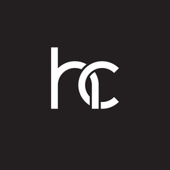 Initial lowercase letter hc, overlapping circle interlock logo, white color on black background