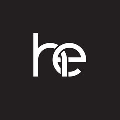 Initial lowercase letter he, overlapping circle interlock logo, white color on black background