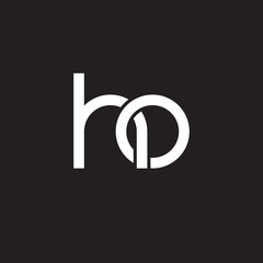 Initial lowercase letter ho, overlapping circle interlock logo, white color on black background