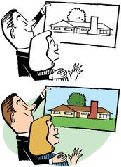A couple plans their dream home.