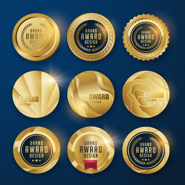 vector Luxury premium badges design.Set of retro vintage badges and labels.gold medal.