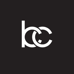 Initial lowercase letter kc, overlapping circle interlock logo, white color on black background