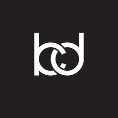 Initial lowercase letter kd, overlapping circle interlock logo, white color on black background