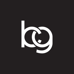 Initial lowercase letter kg, overlapping circle interlock logo, white color on black background