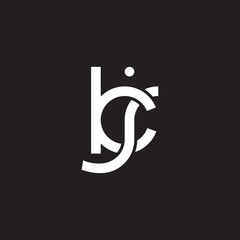 Initial lowercase letter kj, overlapping circle interlock logo, white color on black background