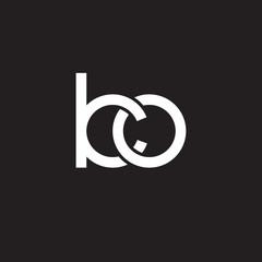 Initial lowercase letter ko, overlapping circle interlock logo, white color on black background