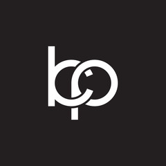 Initial lowercase letter kp, overlapping circle interlock logo, white color on black background