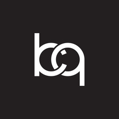 Initial lowercase letter kq, overlapping circle interlock logo, white color on black background
