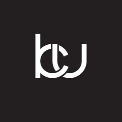 Initial lowercase letter ku, overlapping circle interlock logo, white color on black background