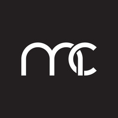 Initial lowercase letter mc, overlapping circle interlock logo, white color on black background
