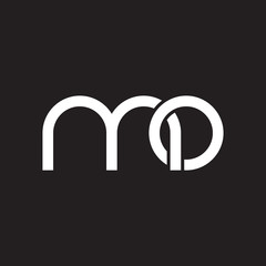 Initial lowercase letter mo, overlapping circle interlock logo, white color on black background