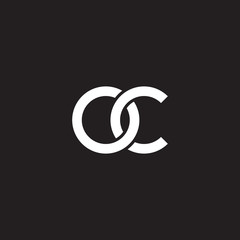 Initial lowercase letter oc, overlapping circle interlock logo, white color on black background
