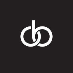 Initial lowercase letter ob, overlapping circle interlock logo, white color on black background