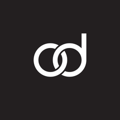 Initial lowercase letter od, overlapping circle interlock logo, white color on black background