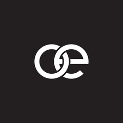 Initial lowercase letter oe, overlapping circle interlock logo, white color on black background