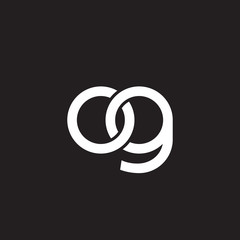 Initial lowercase letter og, overlapping circle interlock logo, white color on black background