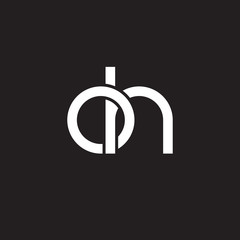 Initial lowercase letter oh, overlapping circle interlock logo, white color on black background