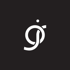 Initial lowercase letter oj, overlapping circle interlock logo, white color on black background