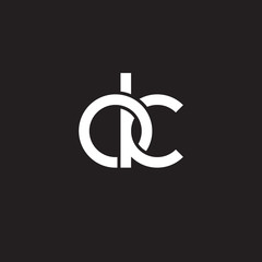 Initial lowercase letter ok, overlapping circle interlock logo, white color on black background
