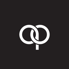 Initial lowercase letter qo, overlapping circle interlock logo, white color on black background