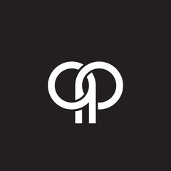 Initial lowercase letter qp, overlapping circle interlock logo, white color on black background