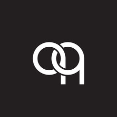 Initial lowercase letter qq, overlapping circle interlock logo, white color on black background