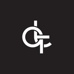 Initial lowercase letter qt, overlapping circle interlock logo, white color on black background