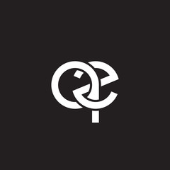 Initial lowercase letter qe, overlapping circle interlock logo, white color on black background