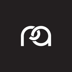 Initial lowercase letter ra, overlapping circle interlock logo, white color on black background