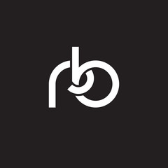 Initial lowercase letter rb, overlapping circle interlock logo, white color on black background
