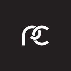 Initial lowercase letter rc, overlapping circle interlock logo, white color on black background