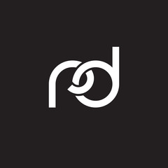 Initial lowercase letter rd, overlapping circle interlock logo, white color on black background