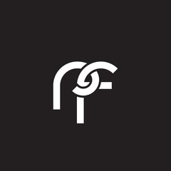 Initial lowercase letter rf, overlapping circle interlock logo, white color on black background