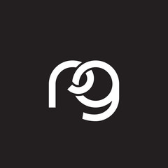 Initial lowercase letter rg, overlapping circle interlock logo, white color on black background