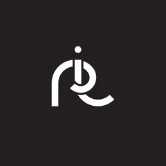 Initial lowercase letter ri, overlapping circle interlock logo, white color on black background