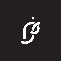 Initial lowercase letter rj, overlapping circle interlock logo, white color on black background