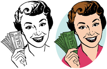 A smiling woman holding a handful of dollar bills.