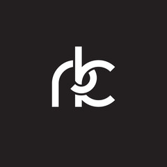 Initial lowercase letter rk, overlapping circle interlock logo, white color on black background