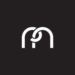Initial lowercase letter rn, overlapping circle interlock logo, white color on black background