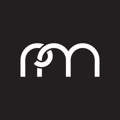 Initial lowercase letter rm, overlapping circle interlock logo, white color on black background