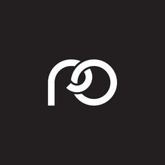 Initial lowercase letter ro, overlapping circle interlock logo, white color on black background