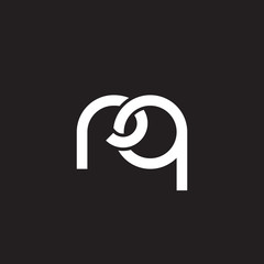 Initial lowercase letter rq, overlapping circle interlock logo, white color on black background