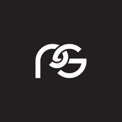 Initial lowercase letter rs, overlapping circle interlock logo, white color on black background