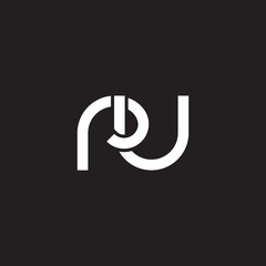 Initial lowercase letter ru, overlapping circle interlock logo, white color on black background