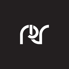 Initial lowercase letter rv, overlapping circle interlock logo, white color on black background