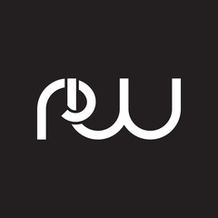 Initial lowercase letter rw, overlapping circle interlock logo, white color on black background