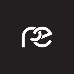 Initial lowercase letter rz, overlapping circle interlock logo, white color on black background