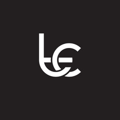 Initial lowercase letter tc, overlapping circle interlock logo, white color on black background
