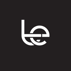 Initial lowercase letter te, overlapping circle interlock logo, white color on black background