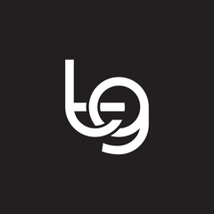 Initial lowercase letter tg, overlapping circle interlock logo, white color on black background